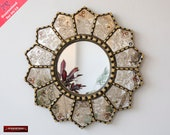Handmade Eglomise Round wall Mirror 23.6 quot , Peruvian luxury Sunflower Mirror, Gold Round Mirror wall art, Mirror for living room, bathroom