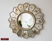 Eglomise Round wall Mirror 18.5 quot from Peru, Handmade luxury Sunflower Mirror, Silver Accent Round Mirror wall art, Mirror for living room