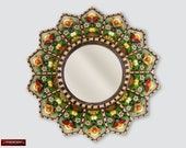 Peruvian Luxury Round Mirror 23.6 quot , Wall hanging Round Mirrors, Vintage Accent Round Mirror for wall decor, Antiqued gold wood framed mirror