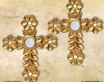 Decorative Wall Crosses Set 2 Wooden Craft Floral Cross III Peruvian Handicrafts