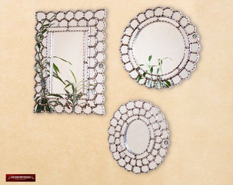 Collectible Wall Mirror Set 3 Round Mirrors Decorative From Etsy