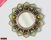 Sunflower Mirror wall art 23.6 quot , Peruvian luxury Round Mirror, Painting on Glass Round Mirror for wall decor, Silver leaf wood framed mirror