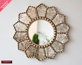 Handmade Eglomise wall Mirror 23.6 quot , Peruvian luxury Sunflower Mirror, Silver Round Mirror wall art decor, Mirror for living room, bathroom