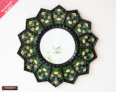 Decorative Luxury Round Mirror 23.6 quot , Black Round Mirror Wall Art Glass, Peruvian Accent sunflower Mirror decor, Black wood framed mirror