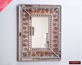 Decorative Wall Mirror using Verre Eglomise Technique - Peruvian Mirror Wood Rectangular Wall Mirrors - Handmade Bathroom mirror for wall