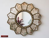 Handmade Eglomise Round wall Mirror 23.6 quot , Peruvian luxury Sunflower Mirror, Gold Round Mirror wall art, Mirror for living room, bathroom