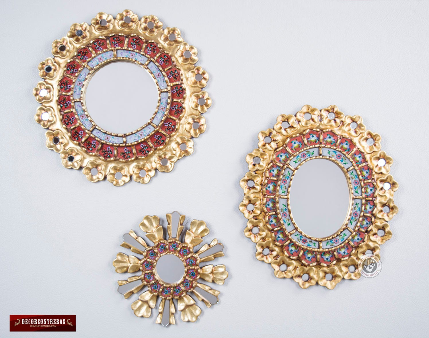 Round & Oval Wall Mirrors Set 3 'Red Celebration'