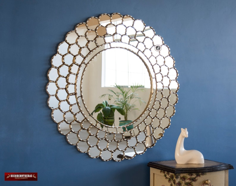 Hand-carved wood Mirror for wall decor,Silver Randiant Sun Large Round mirror wall Decorative Silver Round Mirror 30in Peruvian large wall mirror silver frame