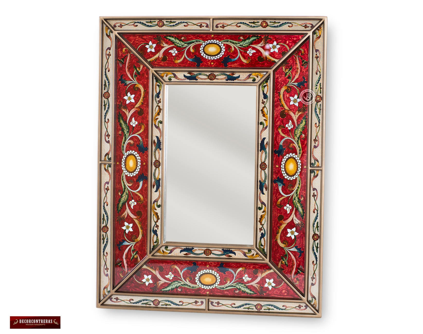 Peruvian Red Decorative Mirror Arts Crafts Large Mirror For Wall Vanity Mirror Hand Painted Glass Wood Rectangular Wall Mirrors
