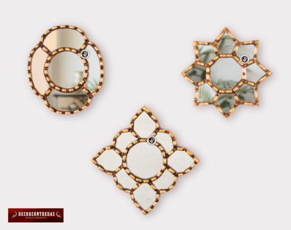 Small Gold Accent Wall Mirror Set Of 3 Decorative Vintage Etsy