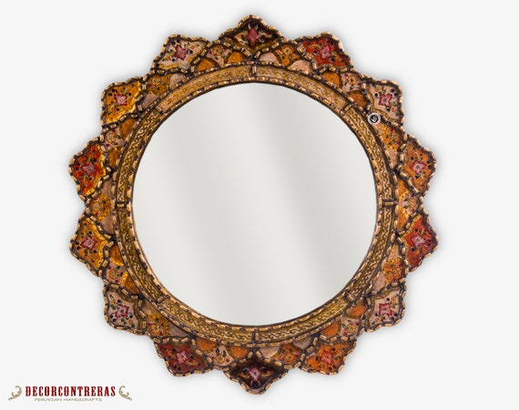 Painting on glass Hanging Wall Mirror from Peru,Delightful Red Decorative Round Mirror wall 25.6in Peruvian Wall Accent Mirror for home