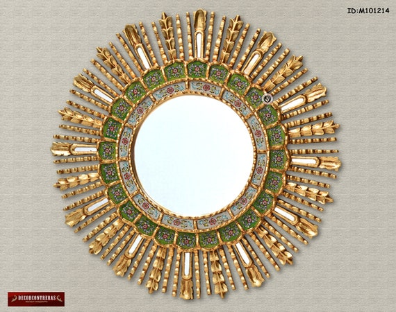 Handmade Medium Antique Round Decorative Wall Mirror Cuzco Style Green Sun Gold Sunburst Wall Mirror Home Decor Peru Handicrafts