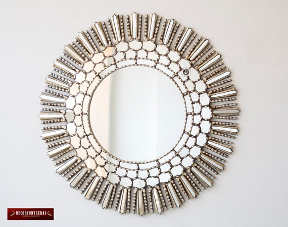 Large Round Decorative Mirror.Large Round Decorative Wall Mirror 31 5 Silver Hand Carved Wood Mirror Peruvian Accent Sunburst Mirror Silver Leaf Wood Mirrors Ornate
