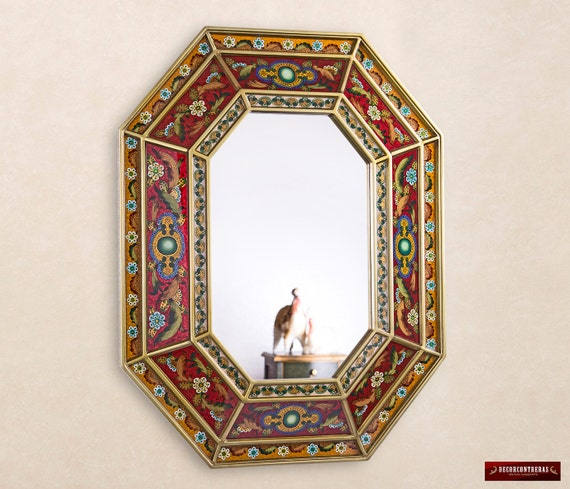 Red Large Decorative Wall Mirror Handmade Reverse Painted Art   Etsy