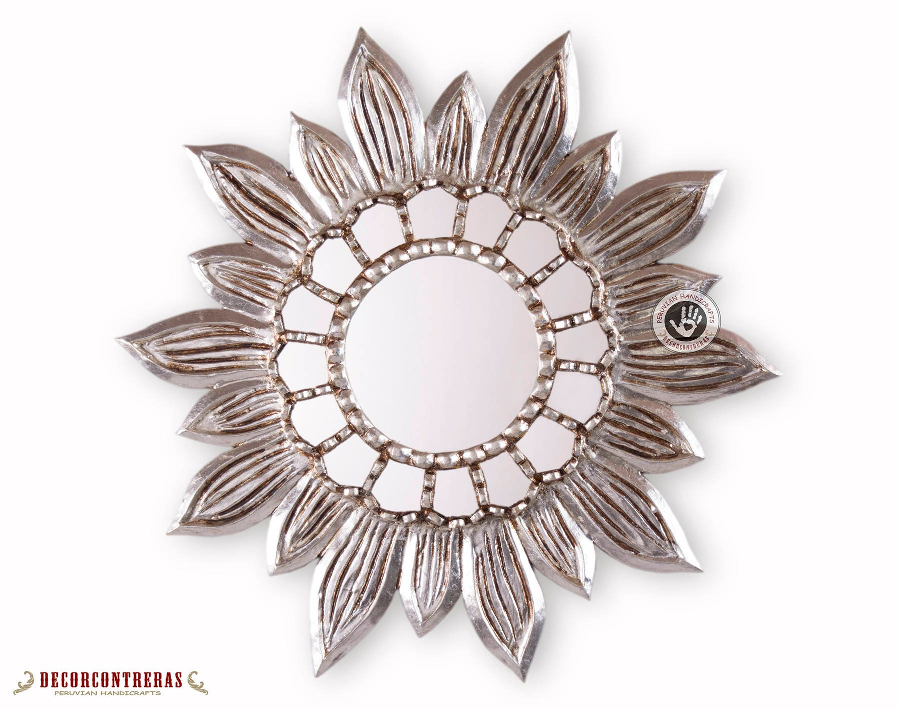 Silver Sunflower Wall Mirror 23 6 Gold Antique Wood Etsy