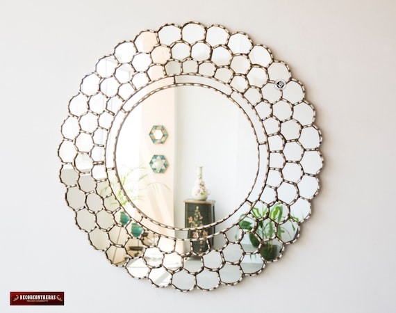 Large Silver Round Wall Mirror 31 5 From Peru Silver Etsy