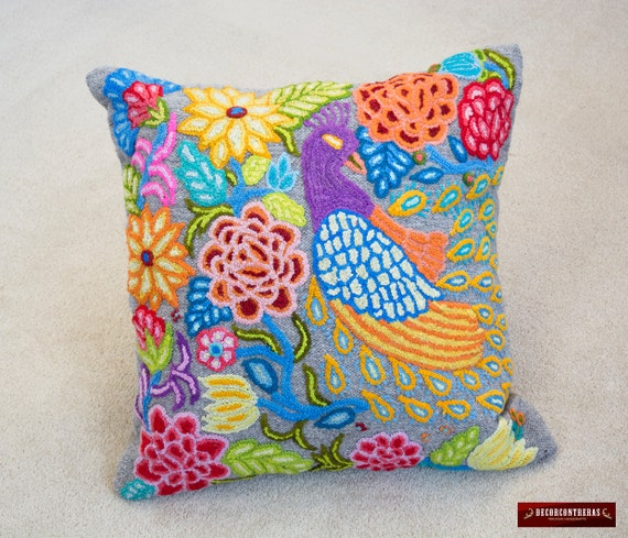Peruvian Throw Wool Pillow Cover 40x40 Colorful Peacock Etsy Mesmerizing Peruvian Decorative Pillows