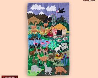 """Wall Hanging quilt 17.7""""- Arpillera art work from Peru - 3D peruvian textile artwork - Embroidered appliques of fabric - 3D Picture textiles"""
