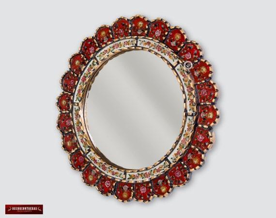 Decorative Cuzcaja Red Round Mirror For, Red Round Mirror