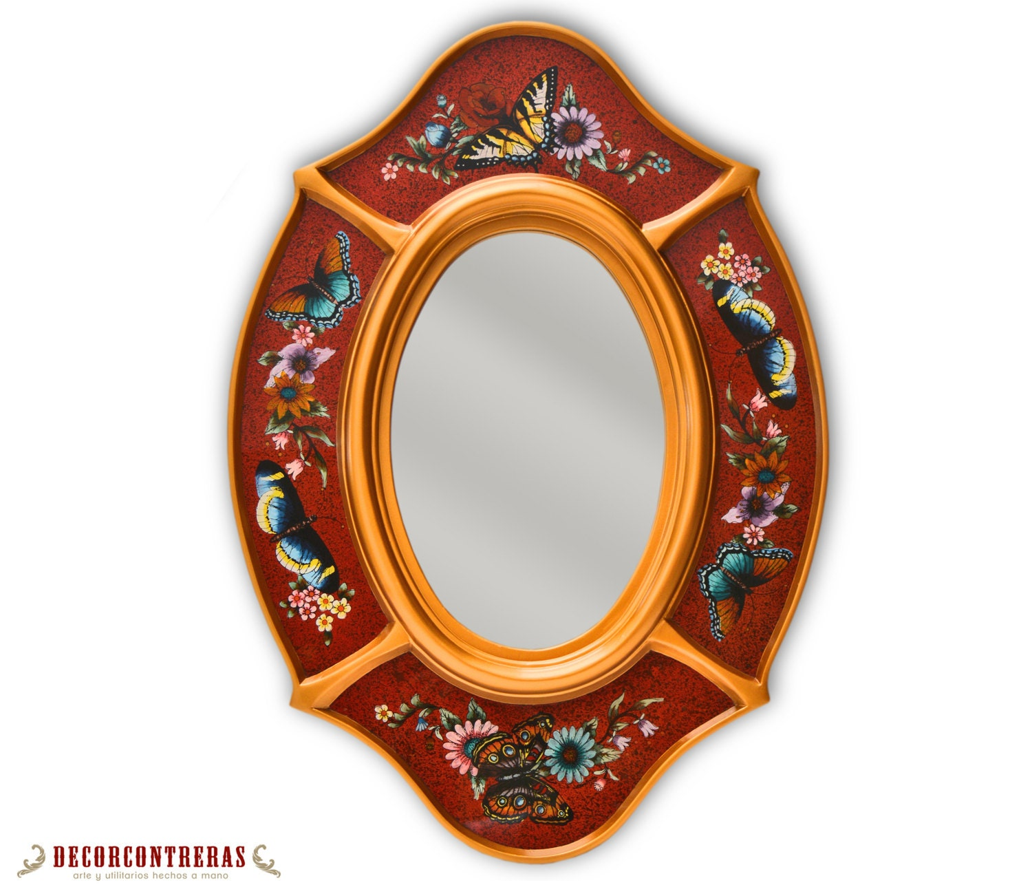 Red Oval Wall Mirror Andean Queens Decorative Etsy