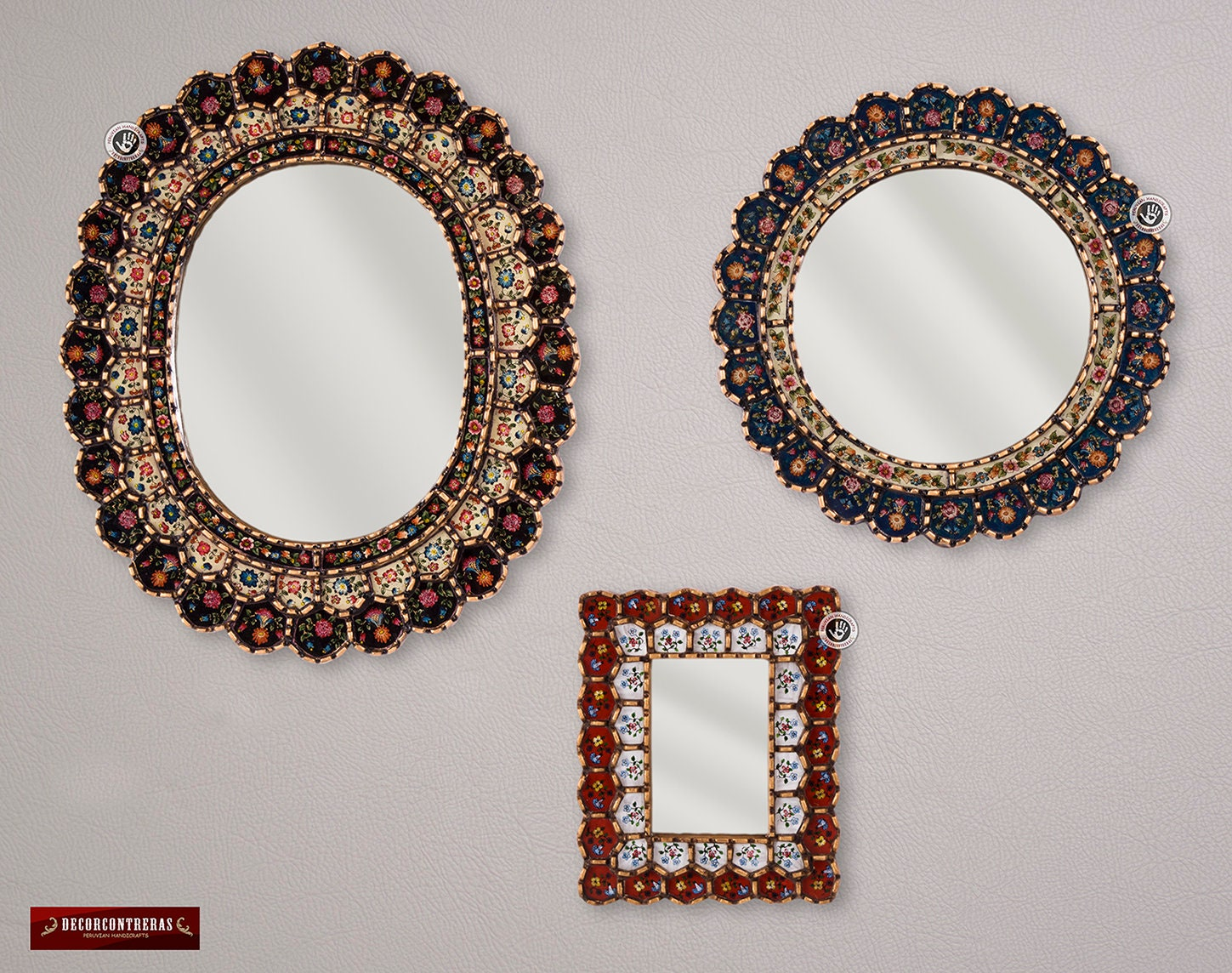 Collectible Wall Mirror Set 3 Round Mirrors Decorative