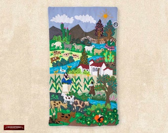 """Wall Art Quilt 17.7in Tall """"Paradise Andean""""- 3D Arpillera Folk Art from Peru -Quilted wall hanging - Tapestry decor - Embroidered of fabric"""