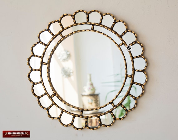 Decorative Accent Gold Round Mirror For Wall 17 7in Etsy