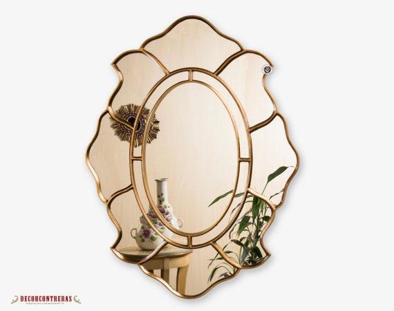 casa de muñecas en miniatura de decoración del hogar Oval Oro Espejo de pared