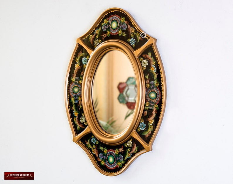Black Oval Wall Mirror With Gold Color Wood Frame Peruvian Ornate Accent Mirror Ebay
