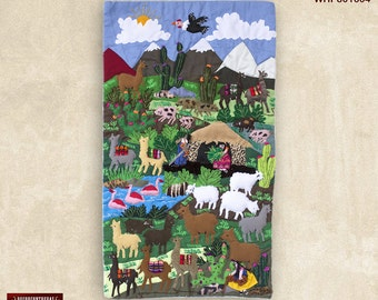 """Wall Hangings quilt 17.7""""- Arpillera art work from Peru - 3D peruvian textile artwork - Embroidered appliques of fabric - Picture textiles"""