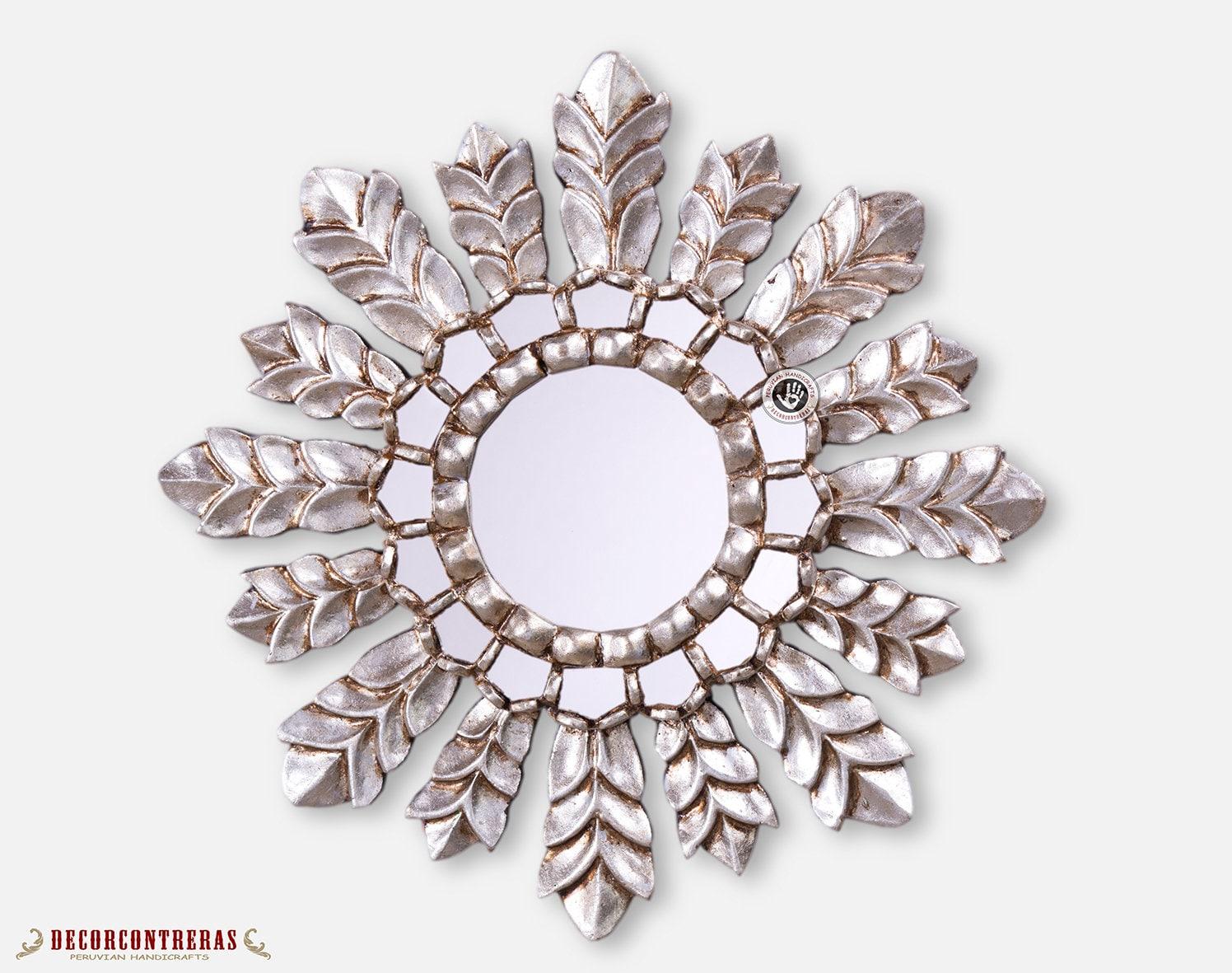 Silver Sunburst Mirrors 17 7in Decorative Mirror Cuzco Etsy