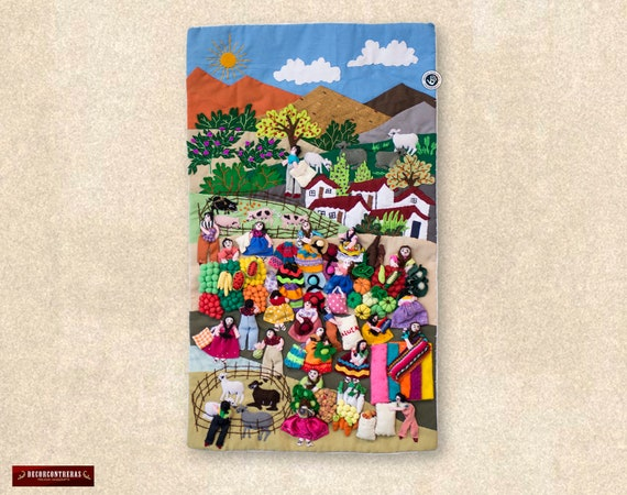 Wall hangings quilt 17.7 tall Arpillera Wall Hanging | Etsy