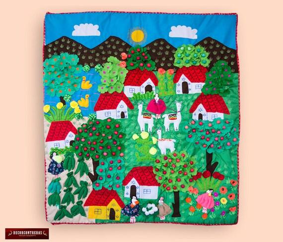 Arpillera folk art design 39.4 quilted wall hanging | Etsy