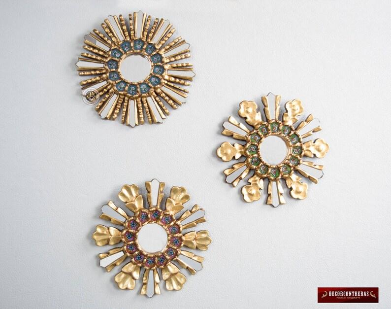 Sunburst Round Mirror Set 3 Multicolor Sunbursts Etsy