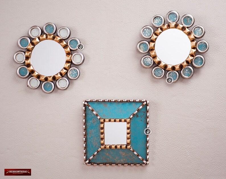 Sunburst Round Mirror Set 3 From Peru Turquoise Etsy