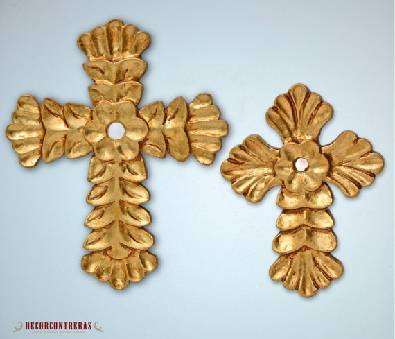 Set 2 Gold Decorative crosses for wall Ligth Of
