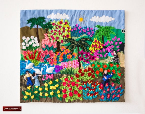 Applique Wall Hanging 17 7x19 7 From Peru 3d Etsy