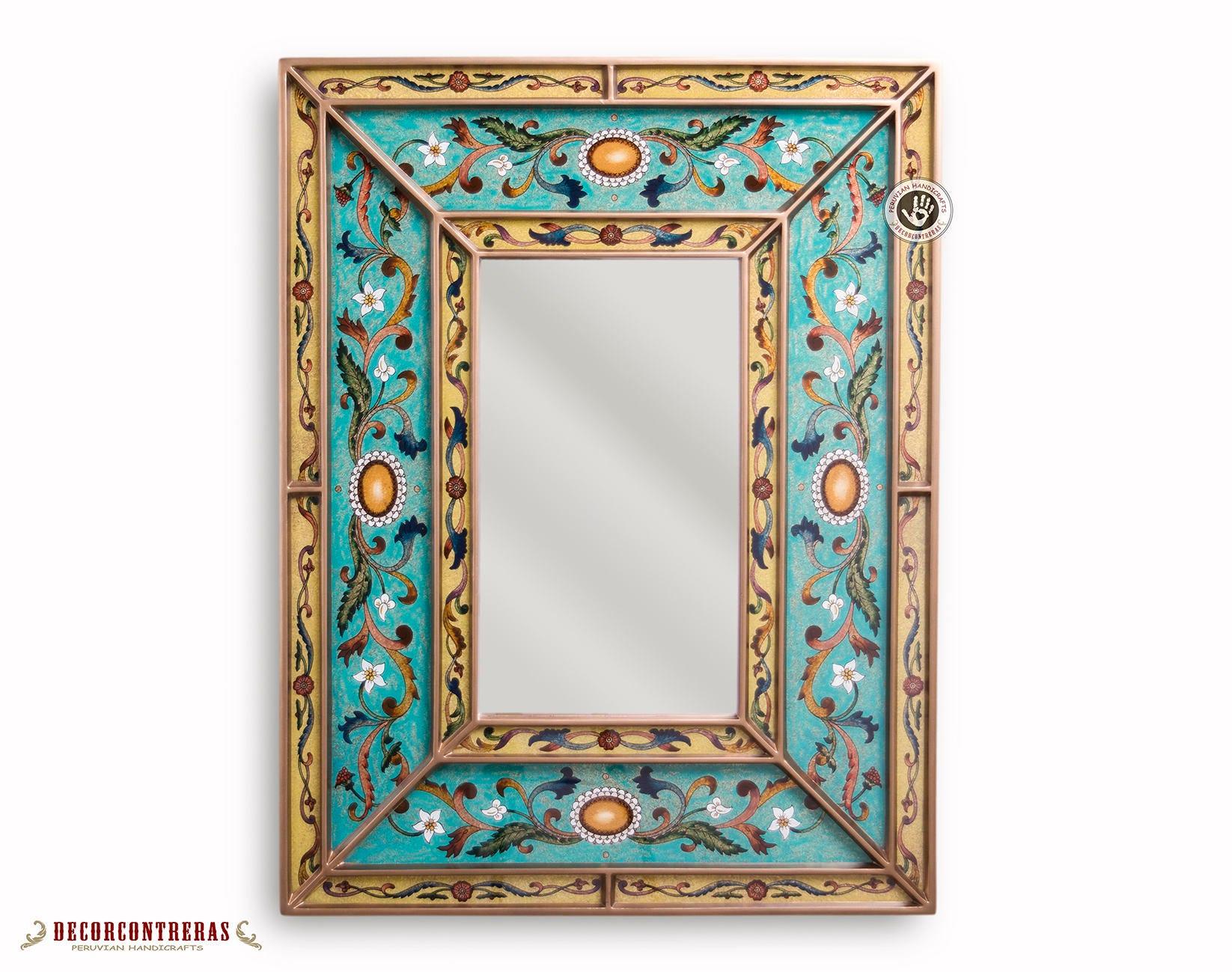 Espejo decorativo Hecho a mano Cielo Turquesa