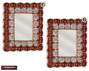 "Wall Mirror 11.8"" Set 2 Unit, 'Flower Carmesi'- Ornate Wood Wall Mirrors style Cusco- Peruvian Handicrafts - Small Rectangular Mirror Wall"