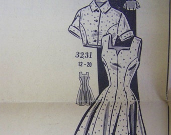 Fabulous Vintage 1940s Mail Order CLOTILDE 3231 Dress & Bolero Pattern  sz 16 bust 34 UNUSED