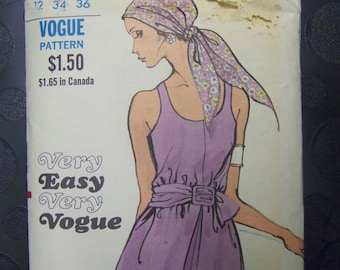 CHIC 1960s Vogue 7831 Sleeveless One-Piece Dress Pattern sz 12 COMPLETE