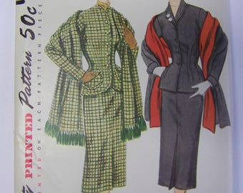 UNUSED Vintage 1950s Simplicity 8429 2-Pc SUIT & STOLE Pattern  sz 20 bust 38