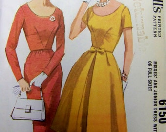Vintage 1960s McCall's 6150 Scooped Neck Slim or Full DRESS Pattern  sz 12 bust 32 UNCUT