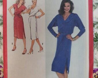VINTAGE 1979 Simplicity 9285 V-neck Dress Pattern sz 12 UNCUT