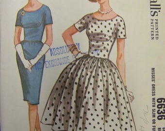 VTG 1960s McCall's 6636 Bodice Detailed Rockabilly DRESS Pattern  sz 12 bust 32 COMPLETE