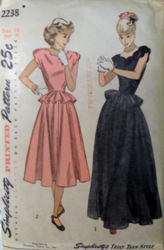 Vintage 1940s Simplicity 2238 GOWN or Dress w/PEPLUM pattern | Etsy