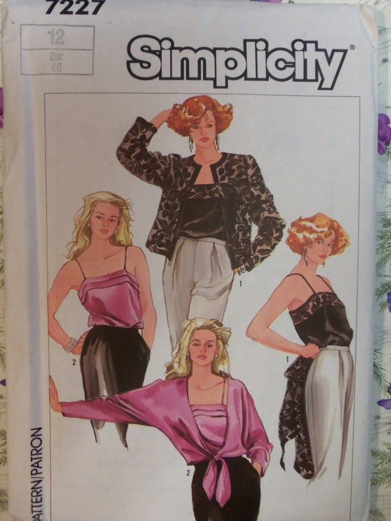 Simplicity 7227 Misses/' Camisoles and Jackets    Sewing Pattern