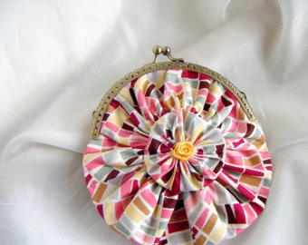 YOYO flower clasp rectangle pattern cotton wallet