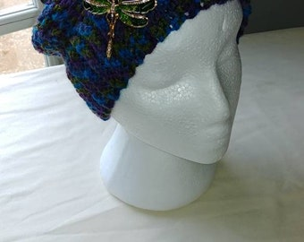 Multicolor blues and greens pony tail slouch hat