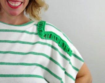 Kelley Top- Green/White